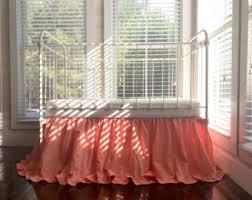 coral crib skirt etsy