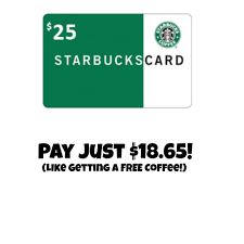 starbuck gift cards 25 starbucks gift card for just 18 65