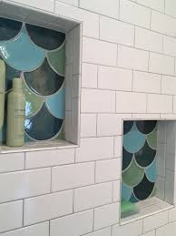 handmade fish scale tile mosaic bathroom niche mermaid bathroom