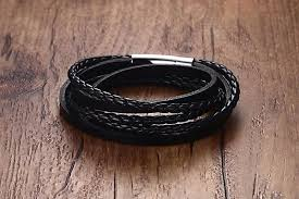 leather stainless steel bracelet images Multiwrap genuine black leather stainless steel bracelet ancient jpg