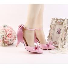 wedding shoes ankle women s pink bow wedding shoes pointy toe stiletto heels ankle