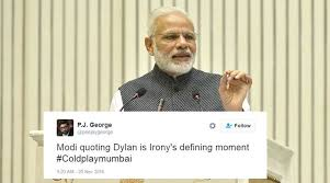 coldplay jokes twitterati unimpressed with narendra modi quoting bob dylan and