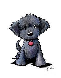 black doodle puppy canvas print canvas art kim niles