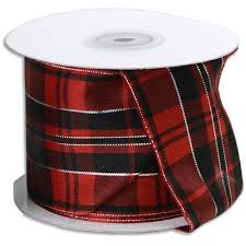 plaid ribbon black plaid ribbon with wired edge silver accents 10 yards