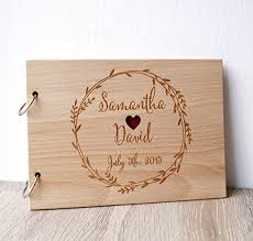 engraved wedding album wedding guest book rustic guest book wooden wedding