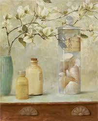 Home Goods Art Decor by Still Life White Bougainvillea In Pottery Seashell Decor Oil