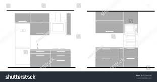 Furniture For The Kitchen Kitchen Interior Flat Monochrome Design Vector Stock Vector