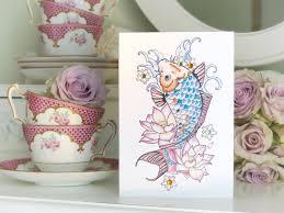 luxury handmade birthday card koi carp u0026 lotus flower tattoo