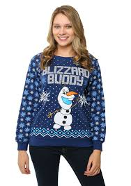 Womens Frozen Olaf Blizzard Buddy Ugly Christmas Sweatshirt
