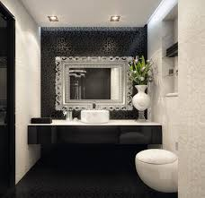 elegant bathroom with modern floral design wallpaper and black