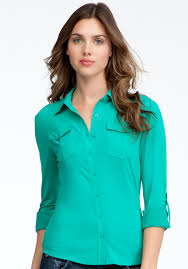 bebe blouse lyst bebe patch pocket jersey button up blouse in green
