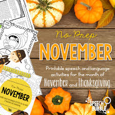 no prep november and thanksgiving speech activities the speech