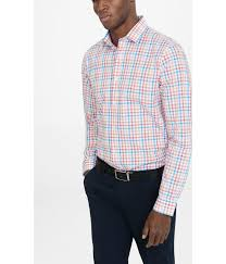 express fitted mini check dress shirt in pink for men lyst
