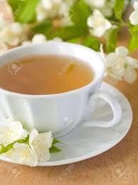 Jasmine Tea Flowers - organic jasmine tea with fresh jasmine flowers stock photo