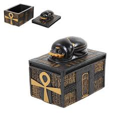 Egyptian Style Home Decor Scarab Egyptian Style Trinket Box 3 1 2 Inches Black Gold