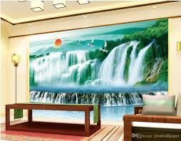 damei mountain river waterfall backdrop decoration painting mural 52