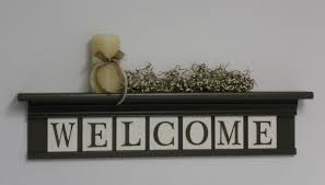 welcome entryway shelf wall decor sign chocolate brown