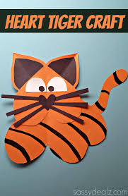 heart tiger craft for kids tigers paper glue and paper hearts
