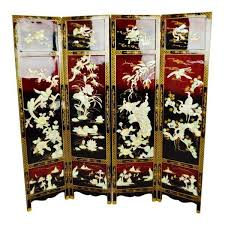 vintage chinese lacquered black and red folding screen room