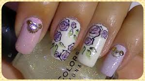 simple roses nail art design tutorial youtube