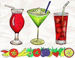 cocktail sketch hand drawn colored set of alcoholic cocktails with cartoon fruits