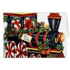 vintage christmas train greeting cards zazzle