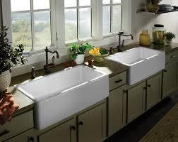 Kitchen Furnitur Decorating Rectangle White Porcelain Apron Sink On Black Wooden