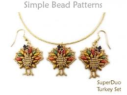 turkey earrings necklace thanksgiving superduo bead pattern