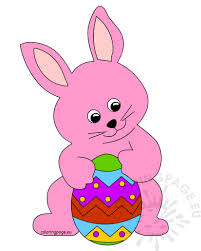 big easter bunny pink easter bunny holding a big easter egg coloring page