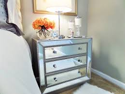 Mirrored Nightstand Bedside Table Organization Youtube