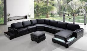 Modern Leather Sectional Sofa Ritz Modern Black Leather