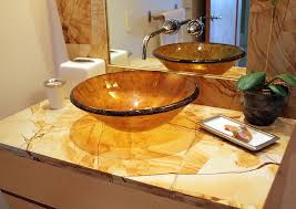 Bathroom Cabinets For Bowl Sinks Bahtroom Small Plant Decor Near Glass Bowl Sink On Onyx Bathroom