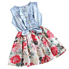 amazon com mingao little girls denim floral print sleeveless
