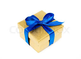 blue and gold ribbon golden gift box with a blue ribbon on a white background stock