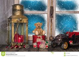 christmas window sill decoration with old nostalgic toys stock