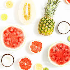 colorful fruit pattern of fresh watermelon pineapple grapefruit