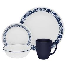 livingware true blue 16 pc dinnerware set corelle