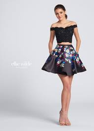 off the shoulder two piece lace top print skirt party dress ew21711s