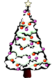 xmas stuff for christmas tree with presents clip art black and