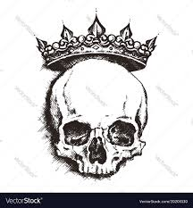 sketch skull with crown line
