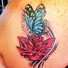 tattoo of a rose red rose butterfly tattoo on back body moth rose tattoo designs