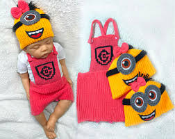 Baby Minion Costume Minion Baby Clothing Set Crochet Baby Costume Crochet Diaper