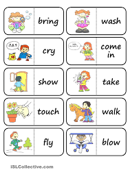 Esl Vocabulary Worksheets Action Words Domino Worksheet Free Esl Printable Worksheets Made