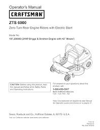 craftsman lawn mower zts 6000 user guide manualsonline com
