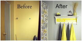interior beautiful grey yellow and white bathroom decoration