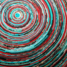 round rug handmade 5 foot ready to ship turquoise u0026 red colors