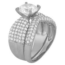 Cubic Zirconia Wedding Rings by 3 52 Ct T W Cubic Zirconia Engagement Ring Set In Sterling
