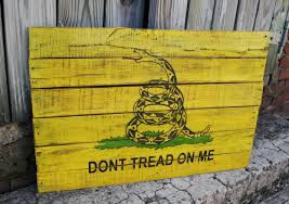Gadson Flag Gadsden Flag Hand Painted On Reclaimed Pallet Wood Wall