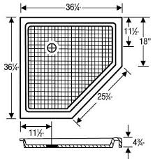 36 x 36 neo angle shower base superior home products