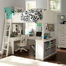 Girls Classic Bedroom Furniture Classic White Painted Oak Wood Loft Bed With Mirrored Makeup Table